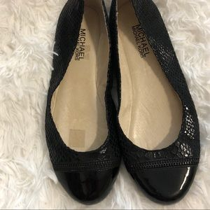 Michael Michael Kors Black Leather Ballet Flats